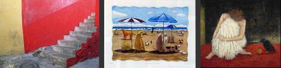 Artwork featuring beach scenes